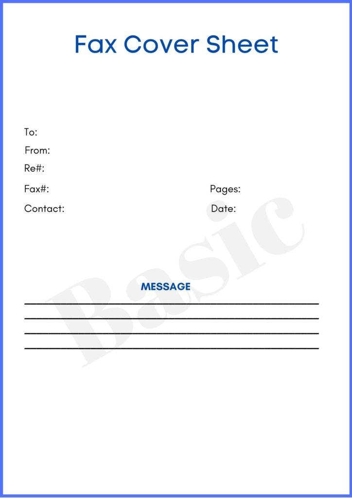 basic fax cover sheet pdf