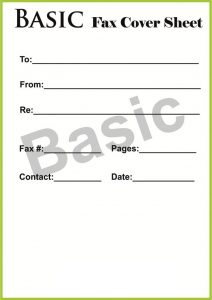 Format of Basic Fax Cover Sheet