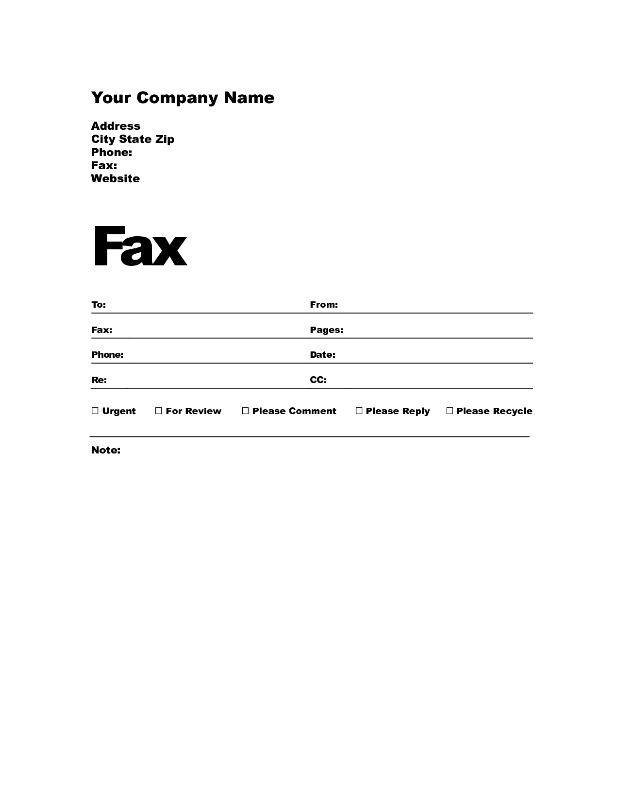 Free Blank Fax Cover Sheet Template