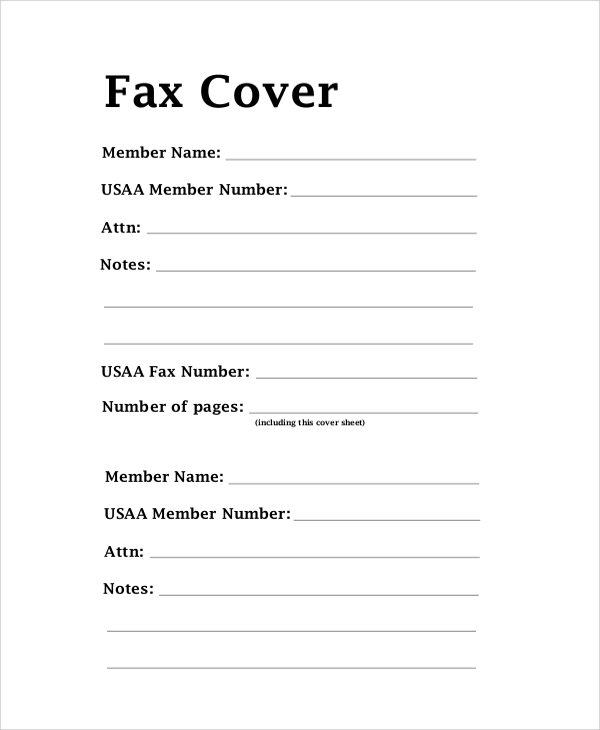 Fax Cover Letter
