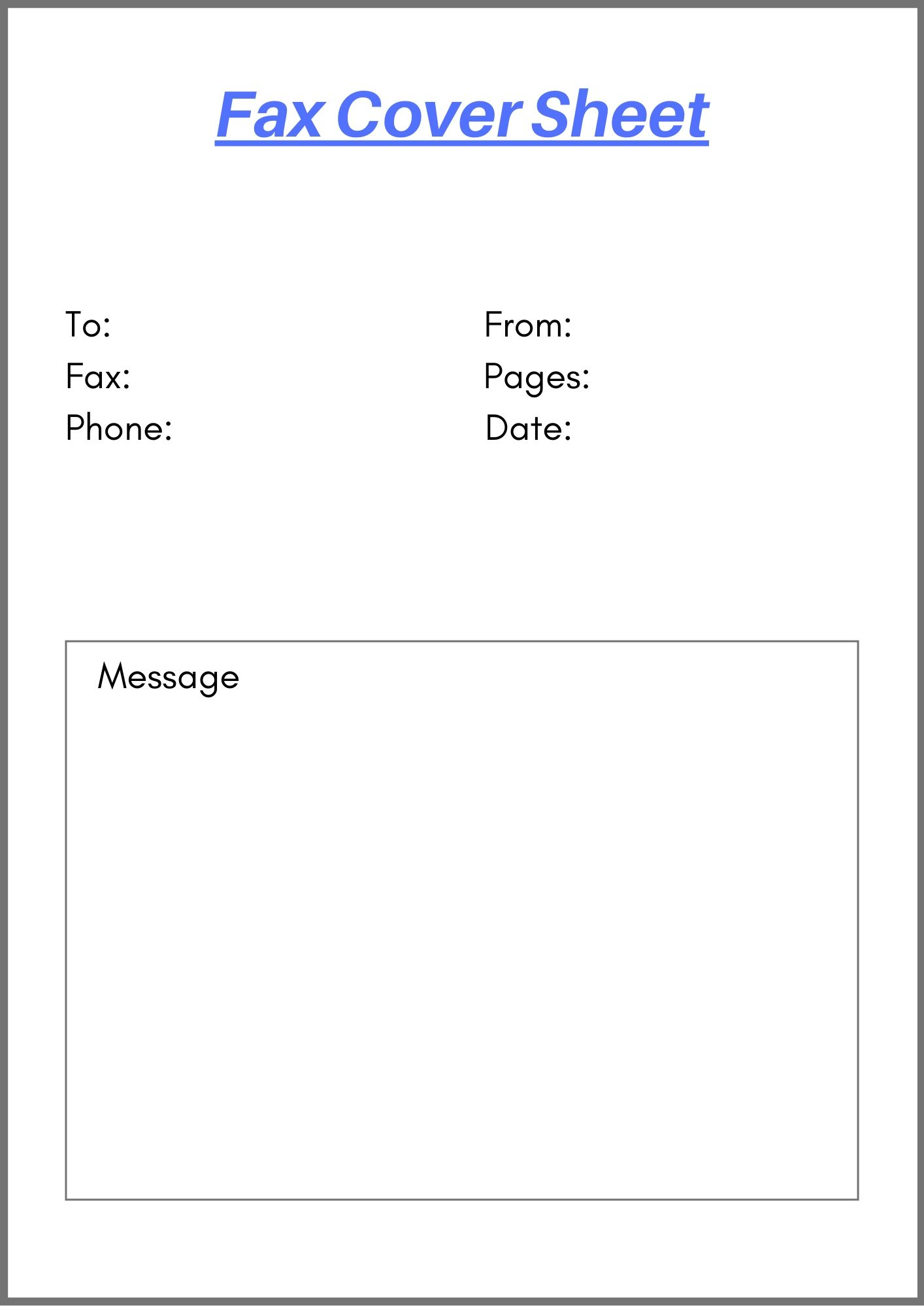Printable Blank Fax Cover Sheet