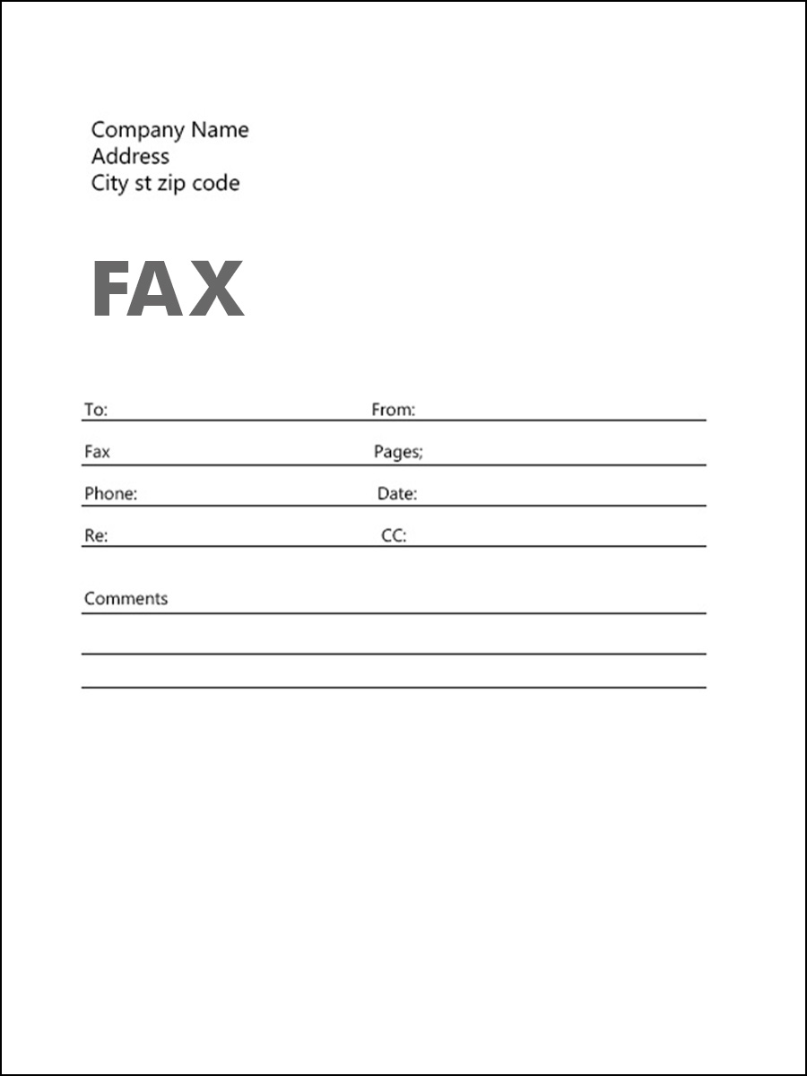 Printable Sample Fax Cover Sheet