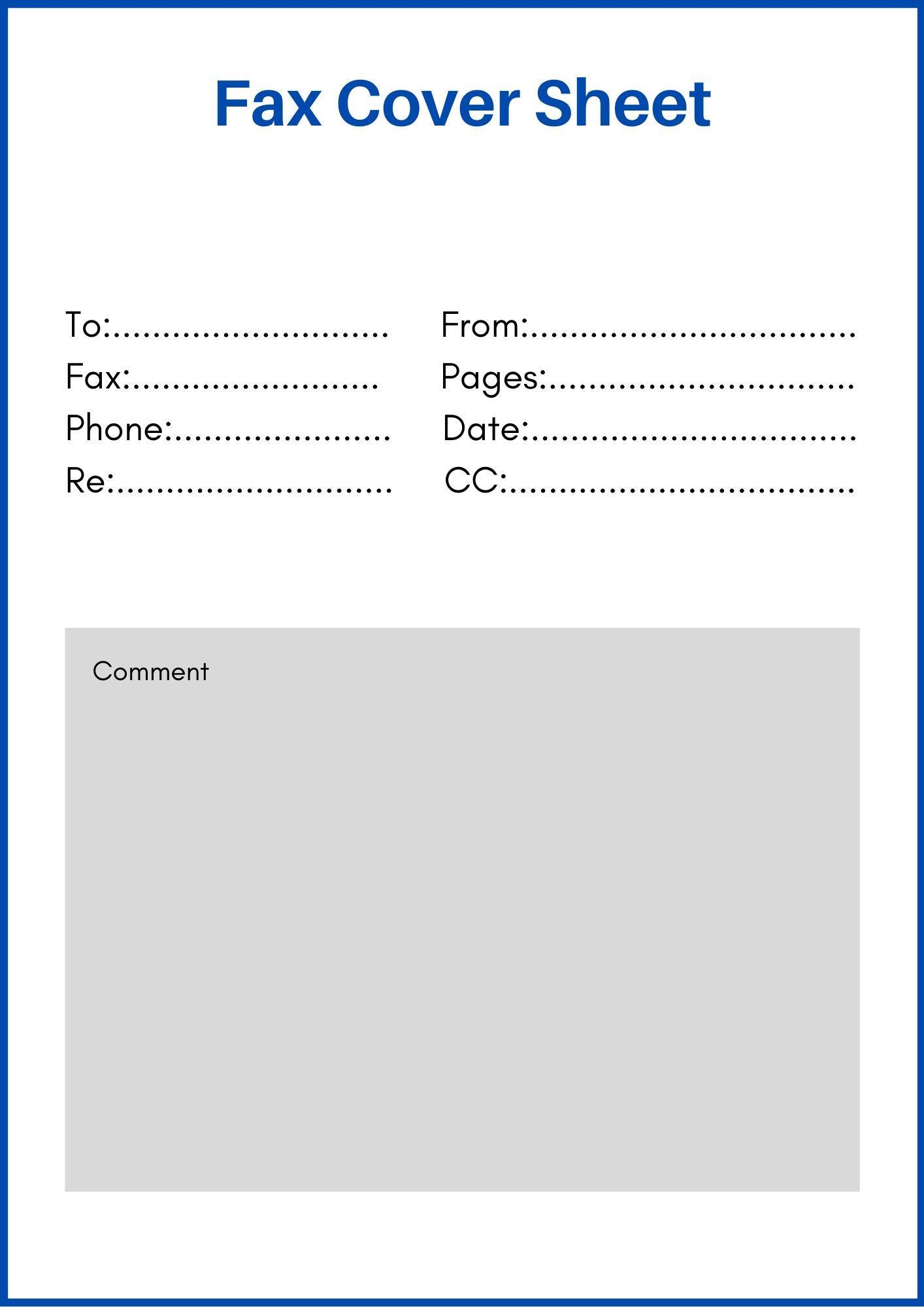 Standard fax cover sheet Word