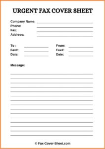 Urgent Fax Cover Sheet Word