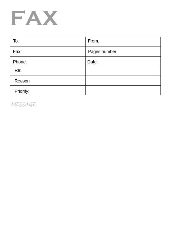 Printable Medical Fax Cover Sheet